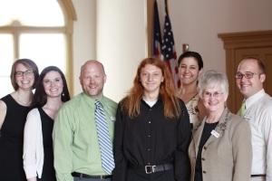 From left to right: Heidi Croy, Kimberly Bright, Zach Thomas, Joshua Orr, Sandra Krueger, W. Jean Daniel, Matt Croy